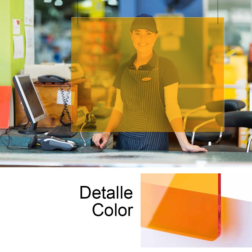Ultimas unidades :   mampara metacrilado naranja 100x75cm 3 mm espesor con 2 agujeros para sujeccion