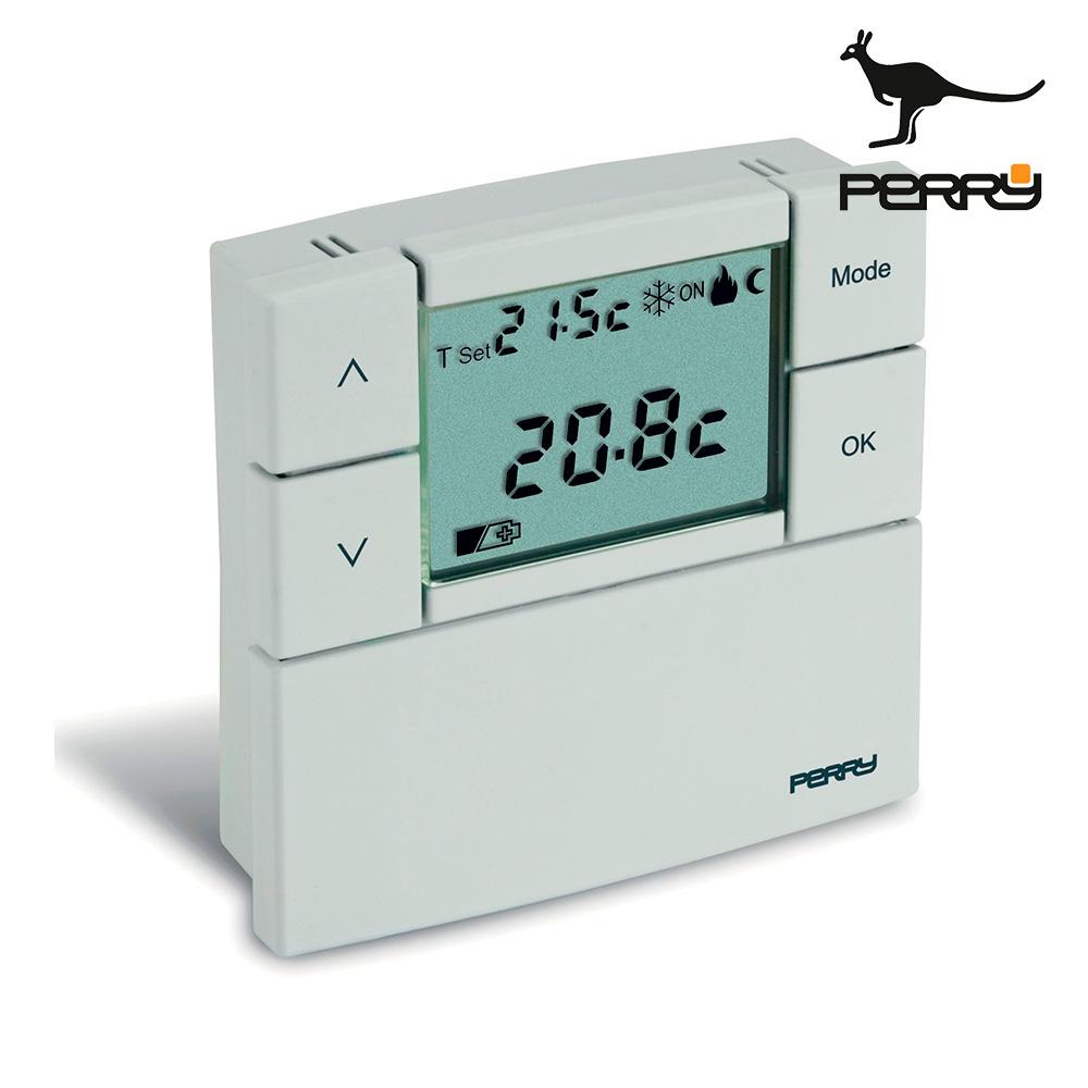 """Termostato digital 3v serie """"zefiro"""" 80x80cm color blanco perry"""