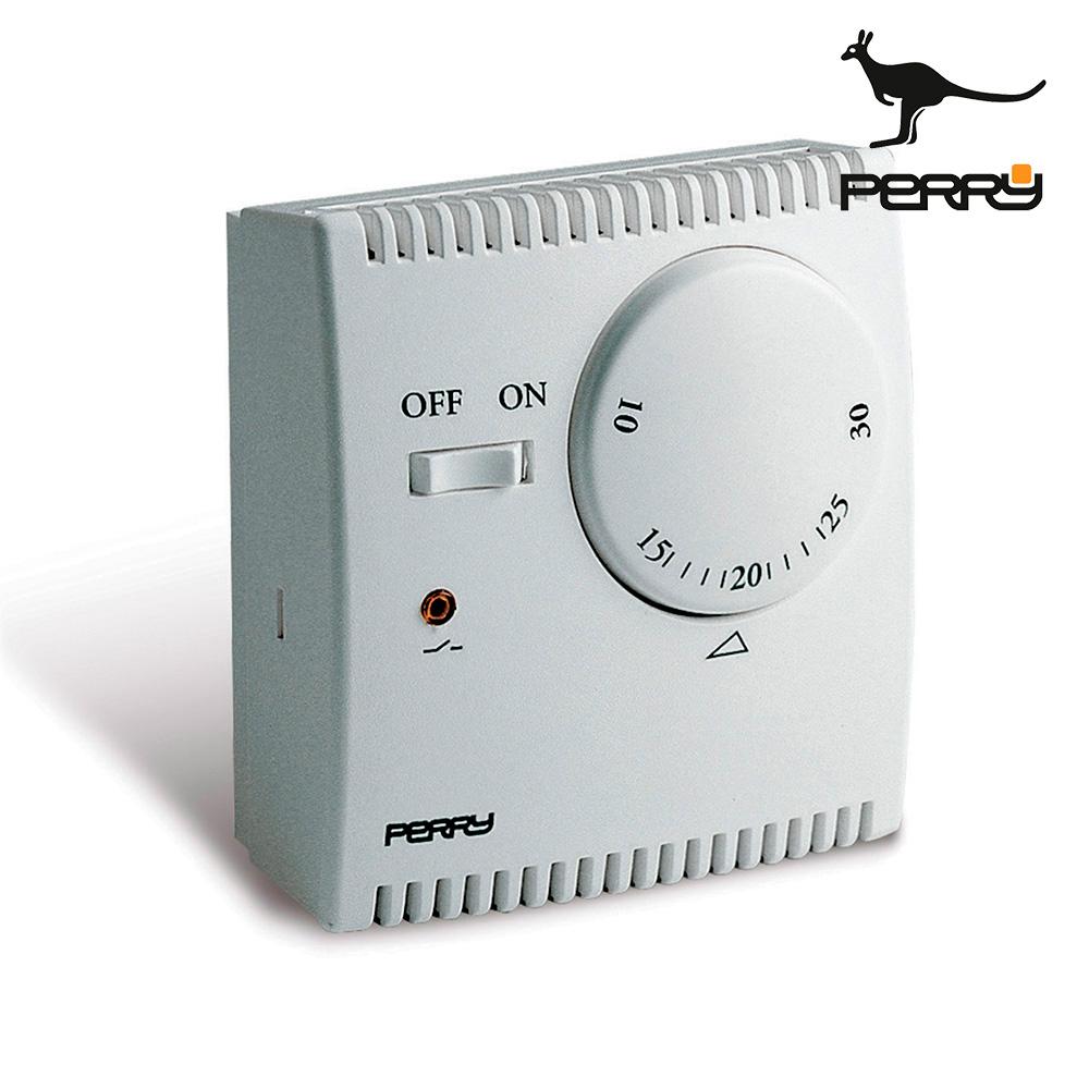 "Termostato analogico de expansión de gas serie ""teg"" con luz piloto y selector ""on/off"" color blanco perry"