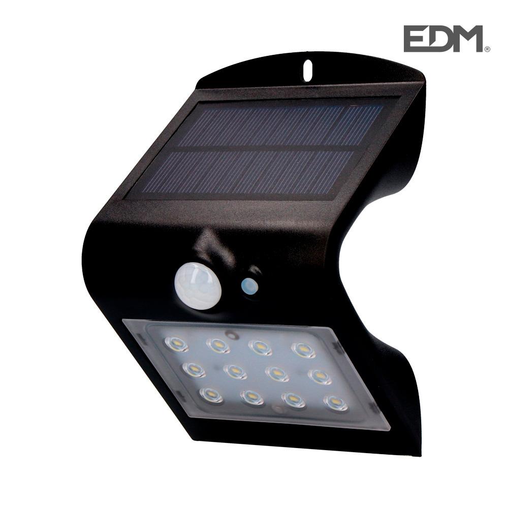 Aplique solar 1,5w 220 lumen recargable sensor de presencia (2-6m) color negro edm