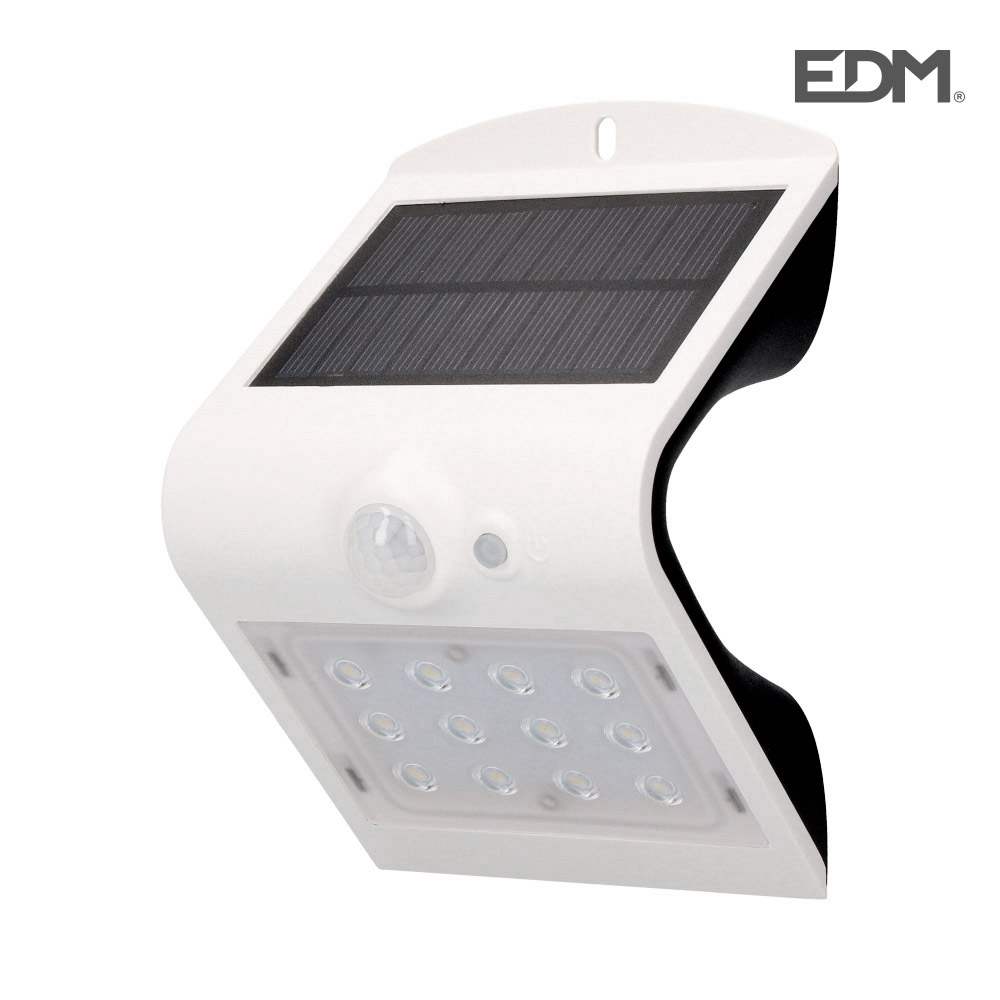 Aplique solar 1,5w 220 lumen recargable sensor de presencia (2-6m) color blanco edm