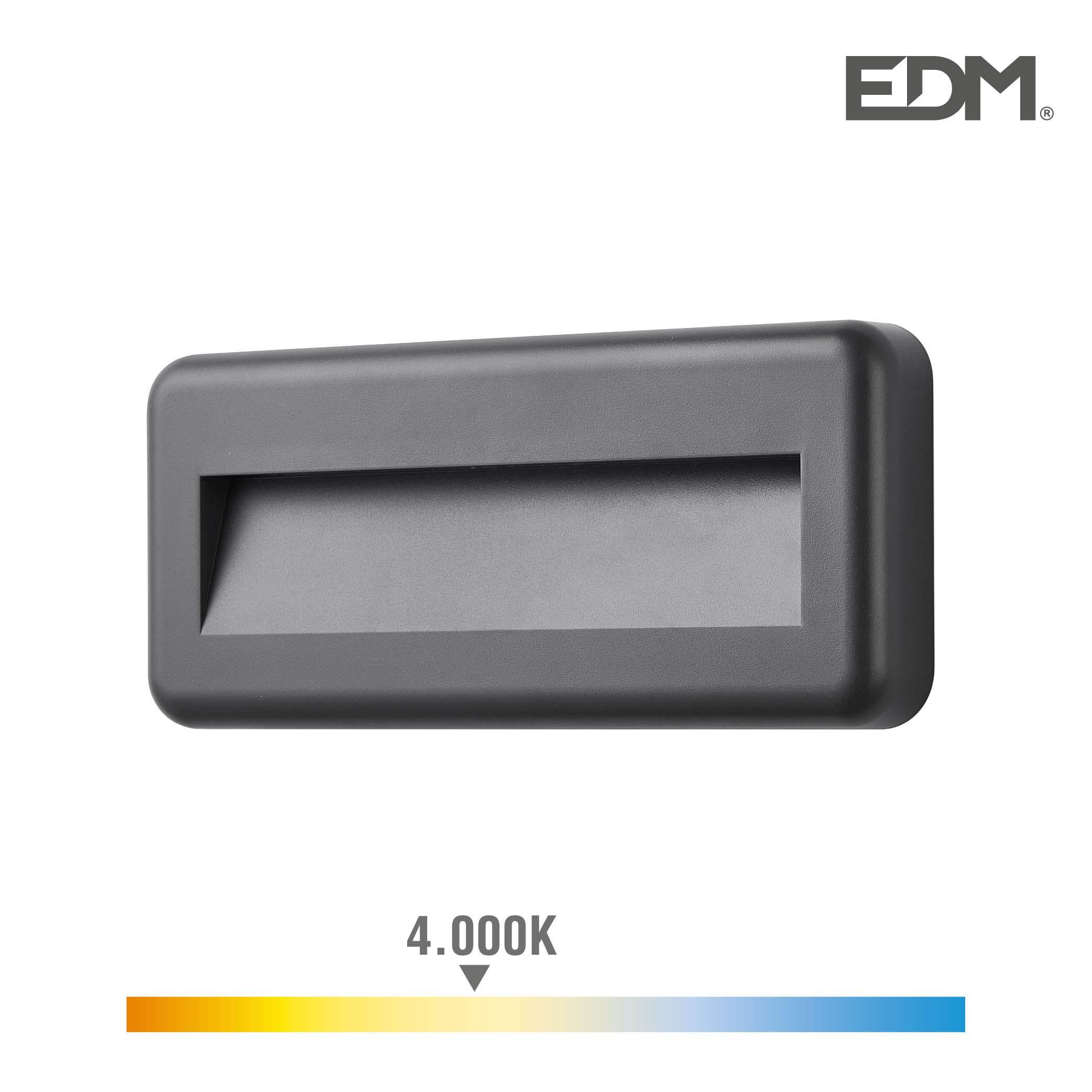 Aplique led 6w 70 lumen 4.000k luz dia ip65 rectangular edm