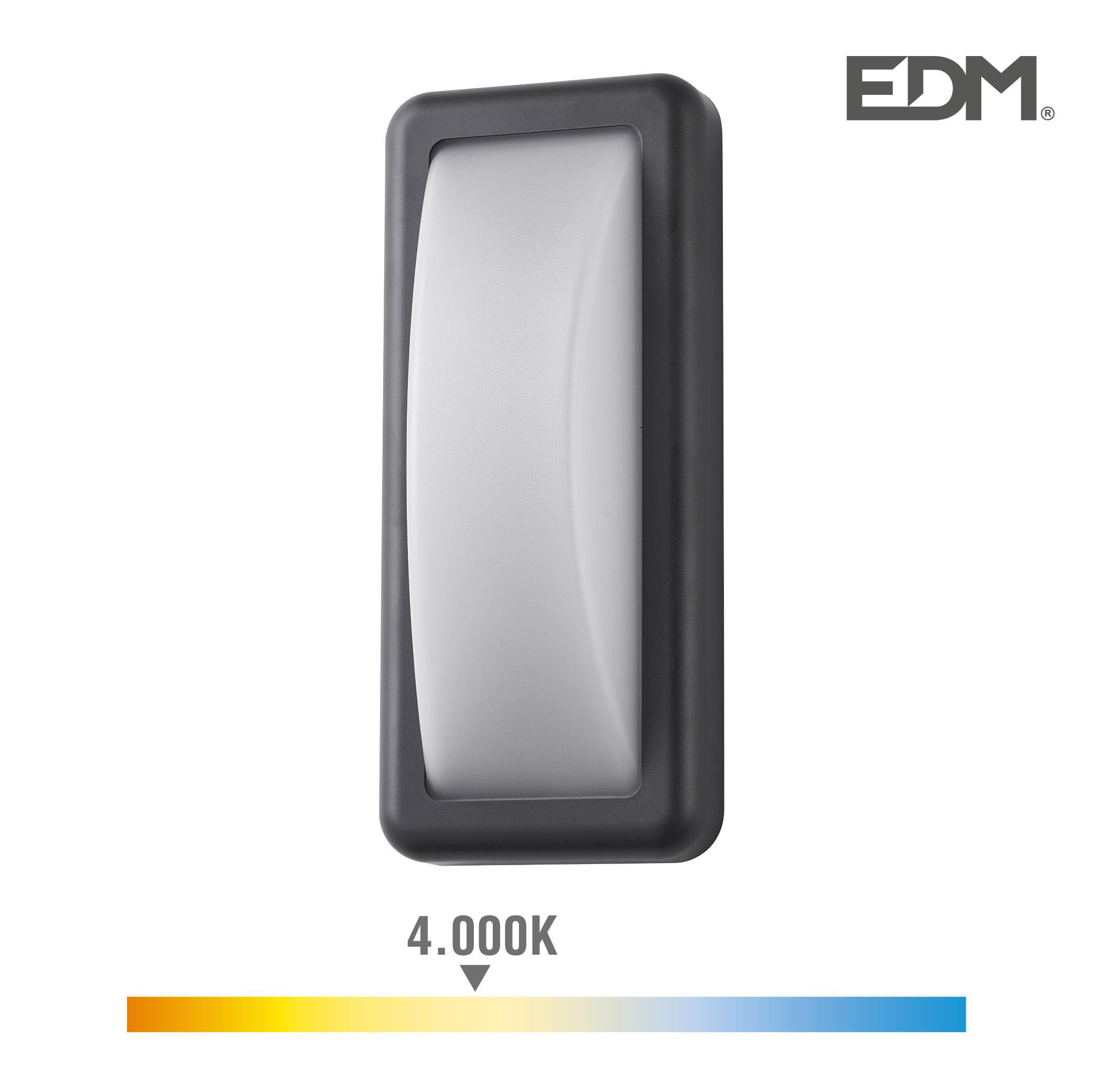 Aplique led 6w 450 lumen 4.000k luz dia ip65 rectangular edm
