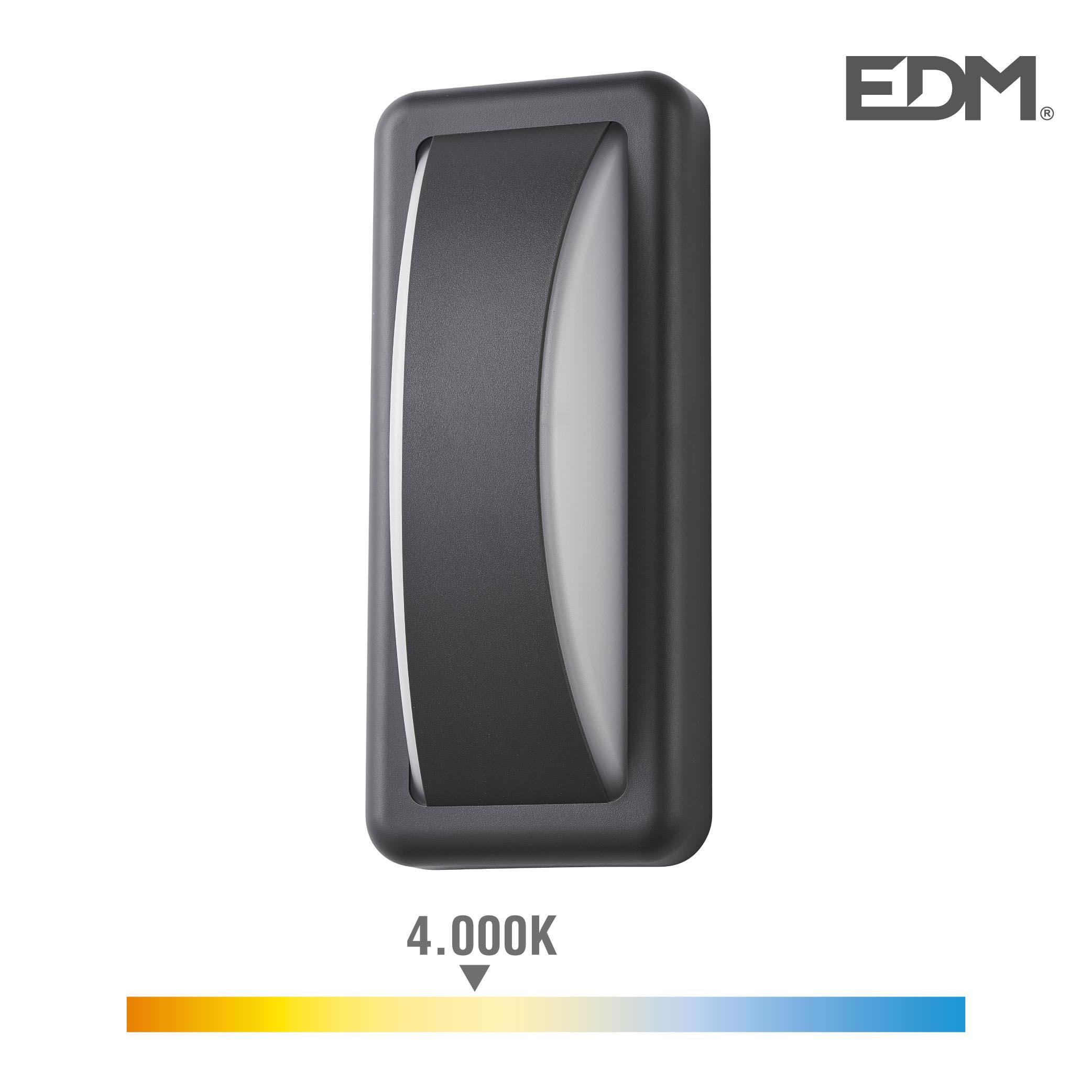 Aplique led 6w 200 lumen 4.000k luz dia ip65 rectangular edm