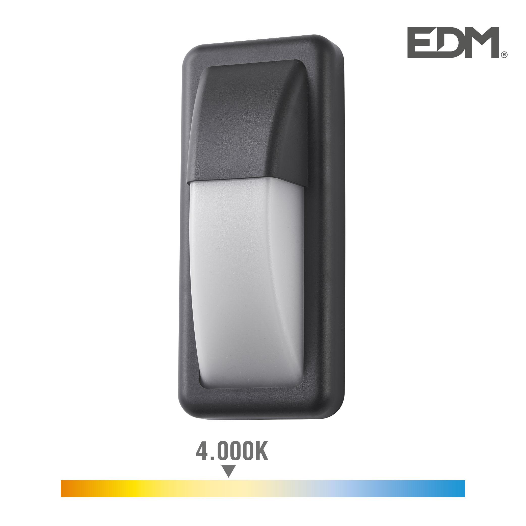 Aplique led 6w 200 lumen 4.000k luz dia ip65 rectangular vertical edm