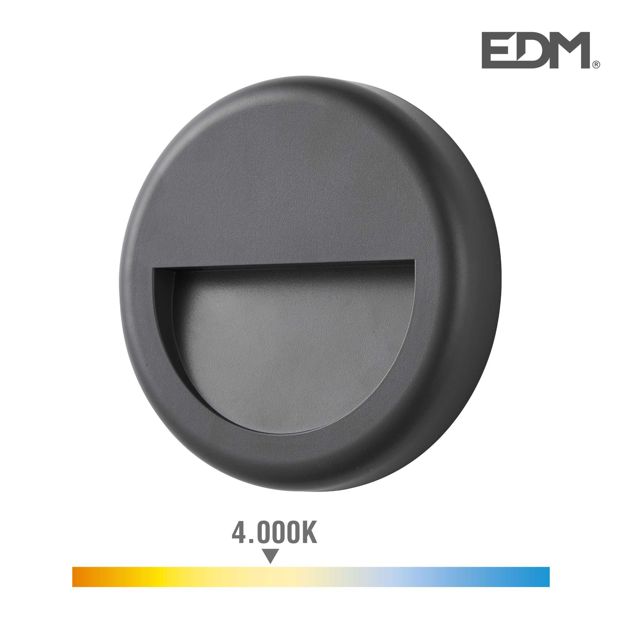 Aplique led 6w 70 lumen 4.000k luz dia ip65 redondo edm