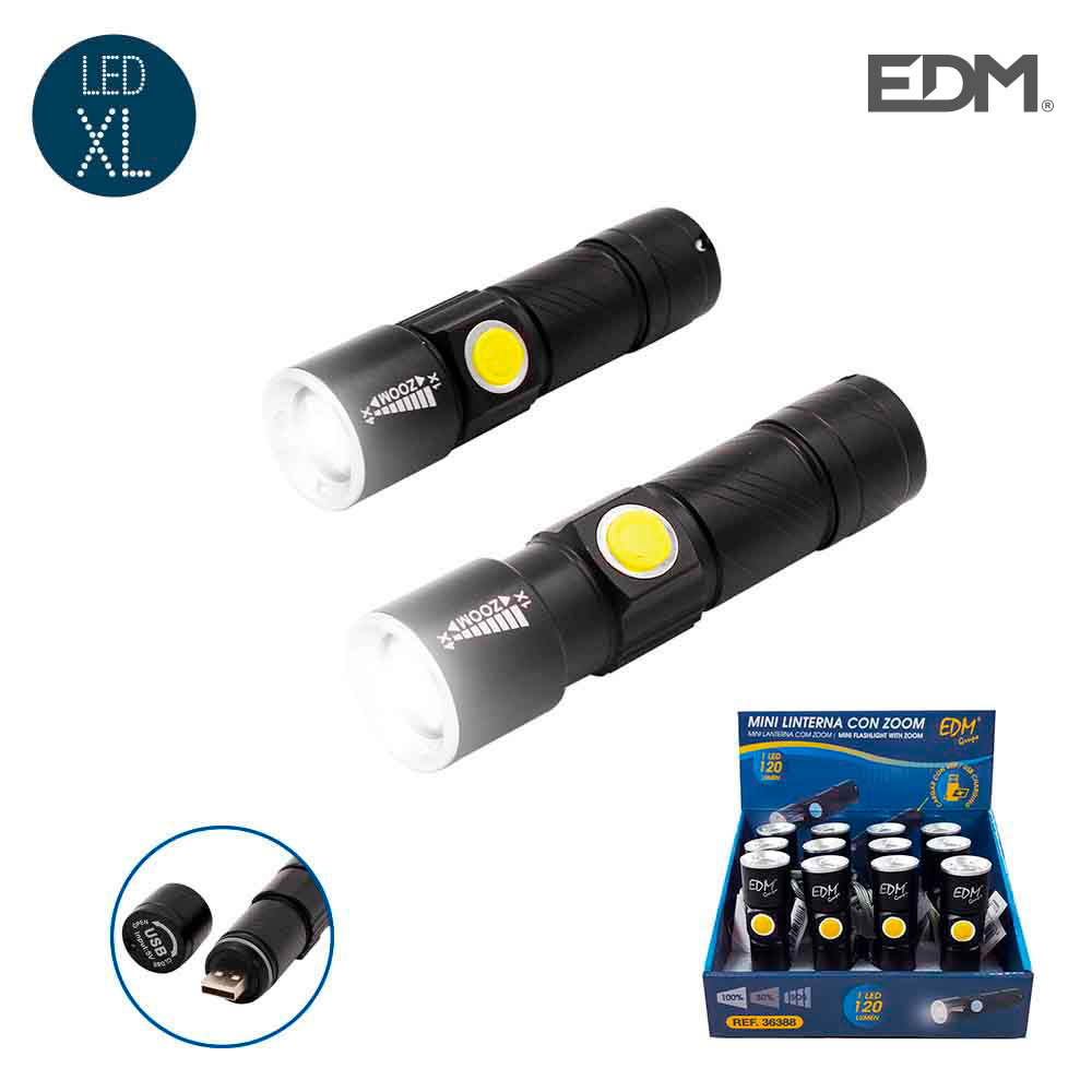 Mini linterna con zoom 1 led 120 lumens recargable con usb bateria de litio incluida alcance 60 mts