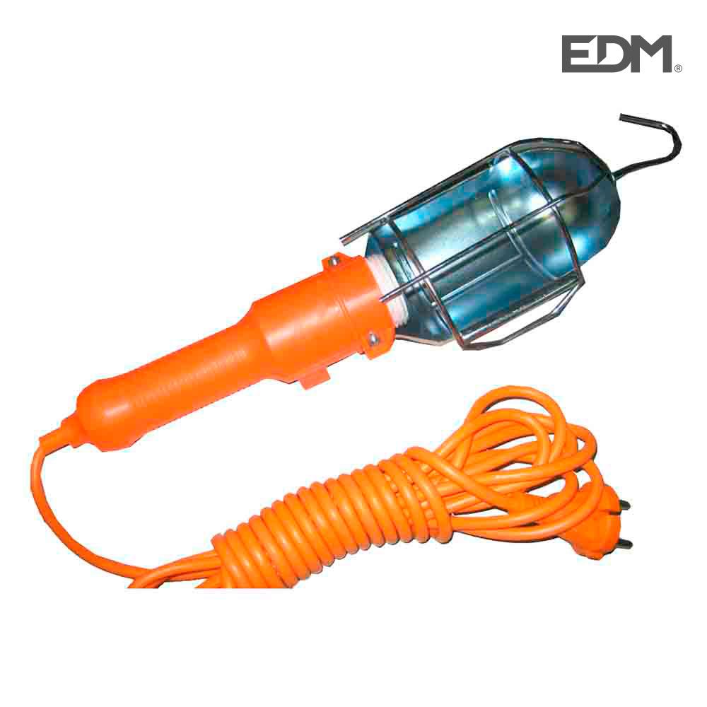 Lampara portatil con gancho e interruptor metalica (5mts)
