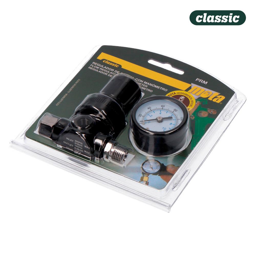 Regulador de caudal con manometro prm