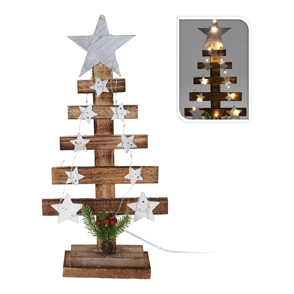 Arbol de navidad de madera decorativo con estrellas 39cm