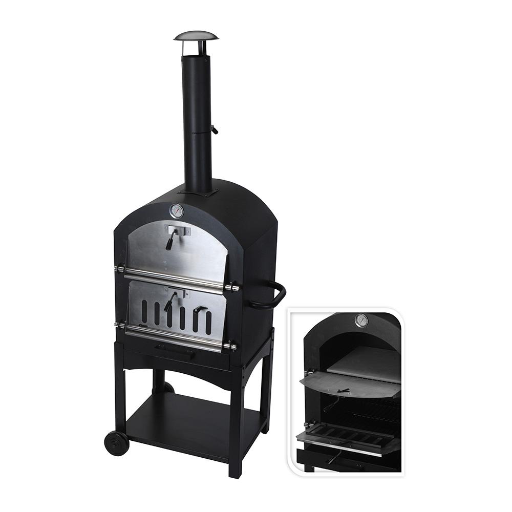 Barbacoa de carbon con horno de piedra
