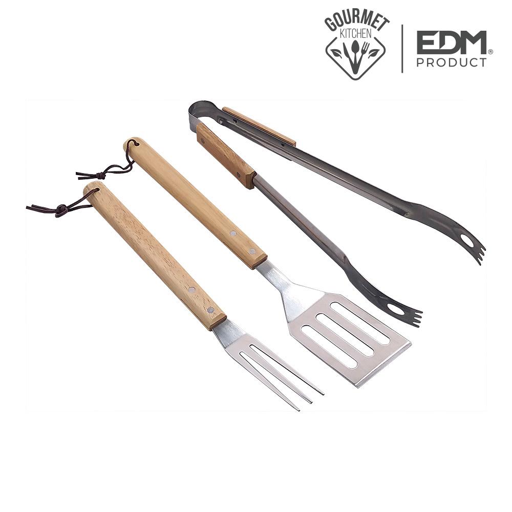 Set 3 herramientas bbq acero inox edm