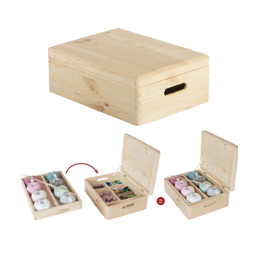 Caja de pino con organizador y tapa embalada 40x30x14cm astigarra