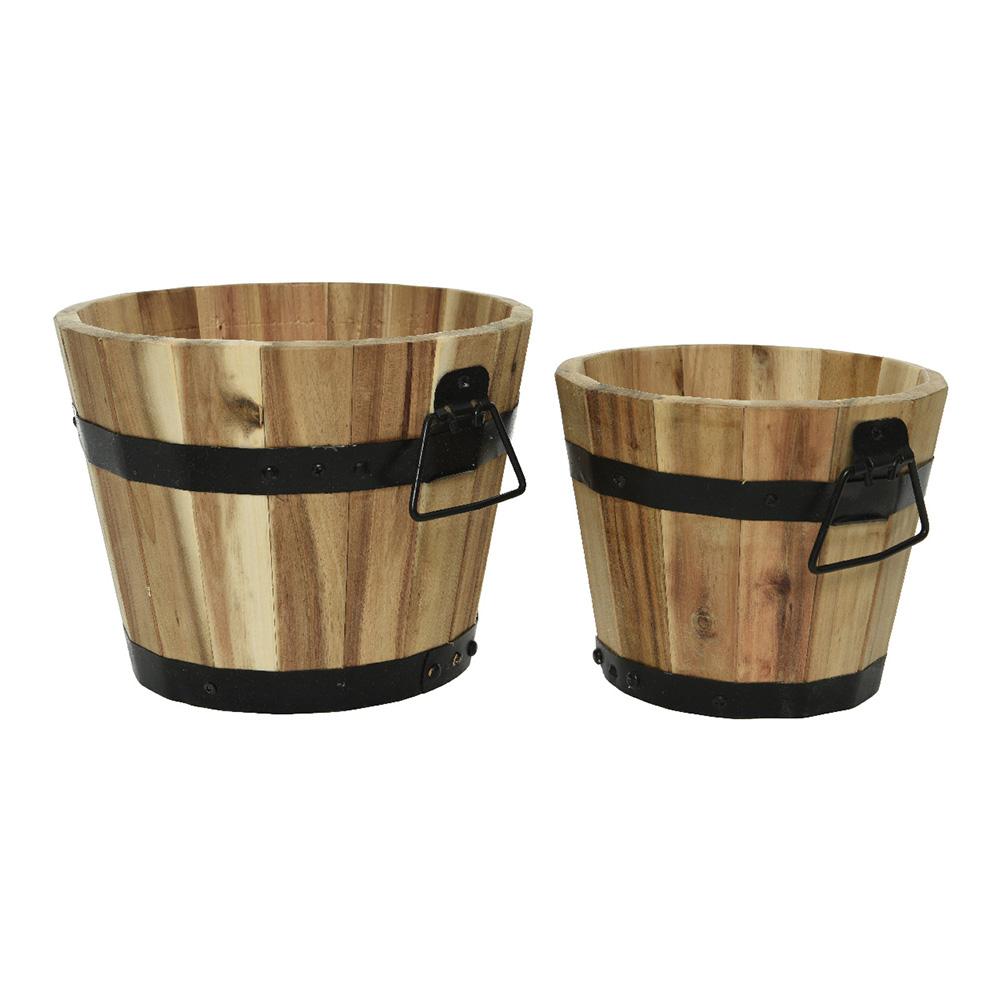 Set 2 barriles de madera con anilla metalica 26x20cm y 20x17cm